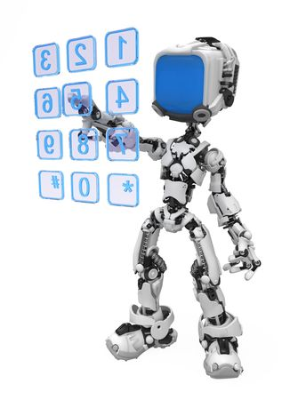 video call: Small 3d robotic figure, over white, isolated Stock Photo