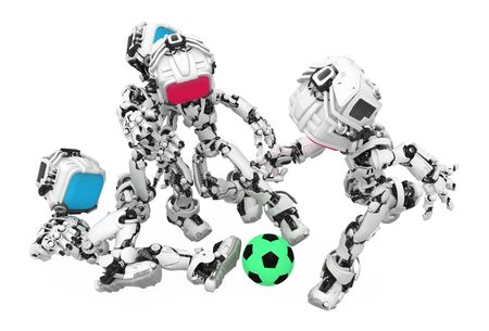 Small 3d robotic figure, over white, isolated Stock Photo - 6532595