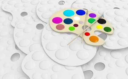 pallette: Color 3d artists pallette with paintbrush on top