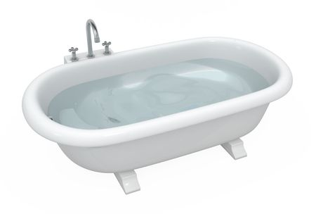 Full bathtub 3d model, over white, isolated