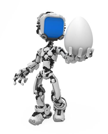 Small 3d robotic figure holding an egg, over white, isolated