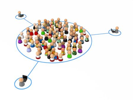 Crowd of small symbolic 3d figures, over white Stock Photo - 6661190