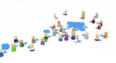 bringing: Crowd of small symbolic 3d figures, over white