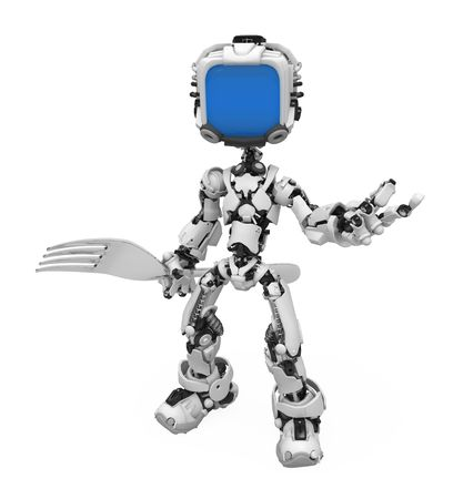 Small 3d robotic figure, over white, isolated Stock Photo - 6703038