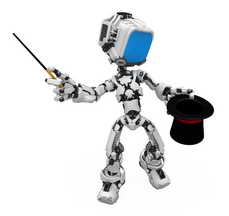 Small 3d robotic figure, over white, isolated Stock Photo - 6703027