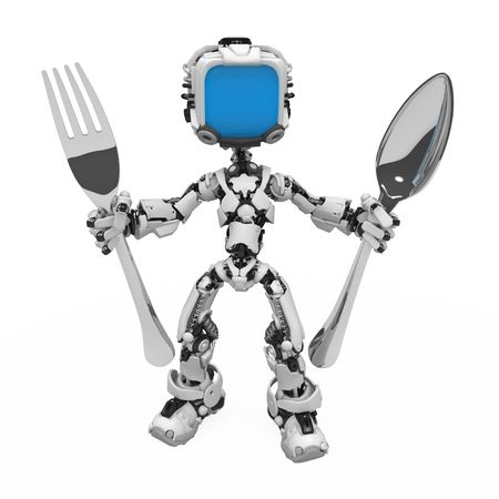 Small 3d robotic figure, over white, isolated Stock Photo - 6703029