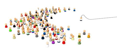 brainwash: Crowd of small symbolic 3d figures, over white