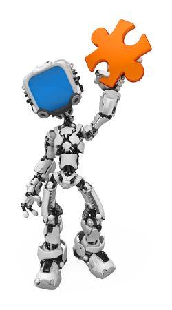 electronic elements: Piccola figura di robotica 3d, over white, isolato