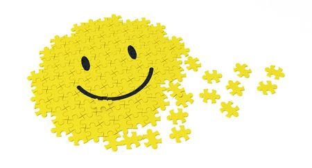 Jigsaw piece 3d smiley symbol, over white photo