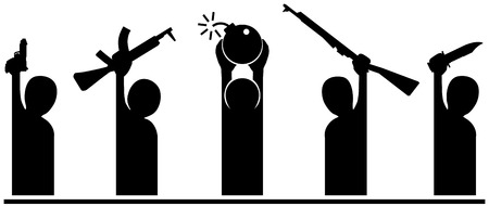 threat: Group of  cartoon silhouettes holding weapons