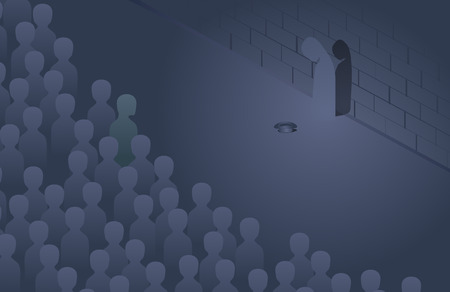 bleak: Moving crowd and a beggar silhouette by the wall,  illustration Illustration