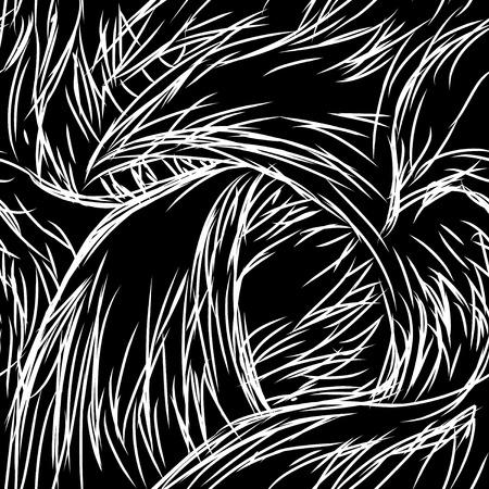 dense: Seamless tile  texture pattern, painted black fur Illustration