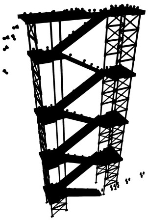 staircase structure: Crowd of small figures ascending a high staircase structure,  silhouette Stock Photo