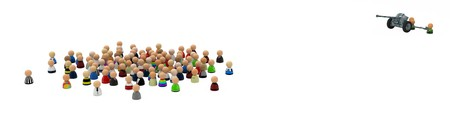 Crowd of small symbolic 3d figures, over white photo