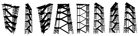 staircase structure: High staircase structure  silhouette set, black and white