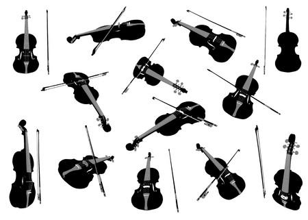 fiddle bow: Violin musical instrument  design element set Stock Photo