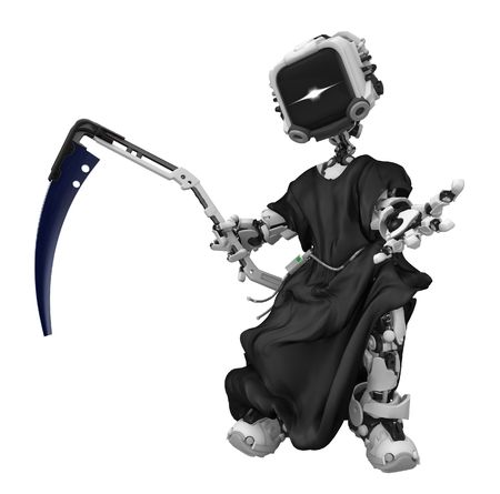 Robotic grim reaper 3d, over white, isolated photo