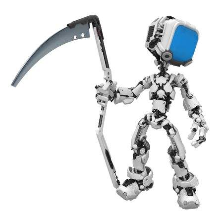 Small 3d robotic figure, over white, isolated Stock Photo - 7209341