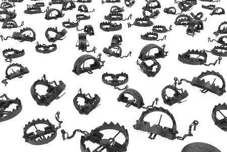 mantrap: Metal toothed mantrap mechanisms 3d, over white Stock Photo