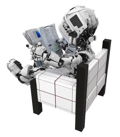 Small 3d robotic figure, over white, isolated Stock Photo - 7296560