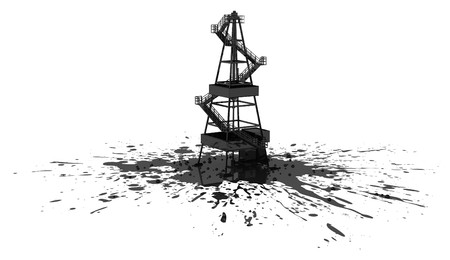 Oil rig construction model 3d, over white