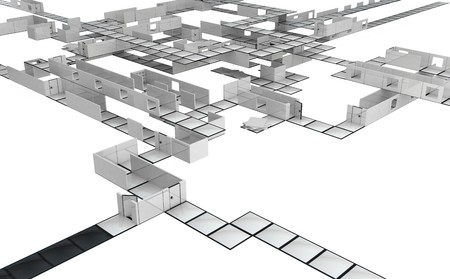 Black and white 3d tile narrow walkway construction, horizontal photo