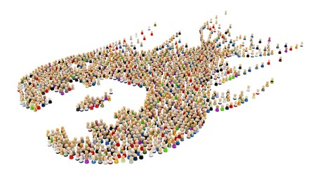 Big crowd of small symbolic 3d figures, over white, isolated photo