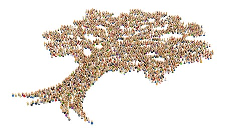 Big crowd of small symbolic 3d figures, over white, isolated Stock Photo