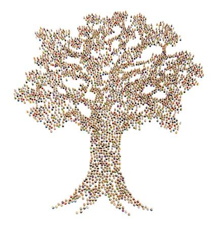 hi�rarchie: Grote menigte van kleine symbolische 3d figuren, in wit, geïsoleerd  Stockfoto