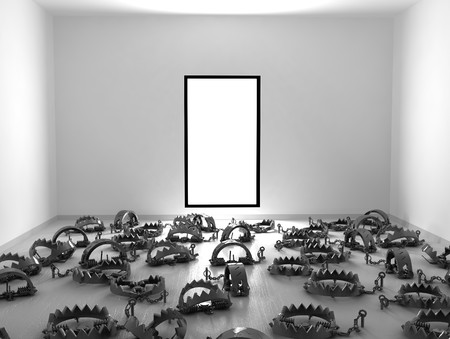 Empty 3d room with floor covered in foothold traps, horizontal photo