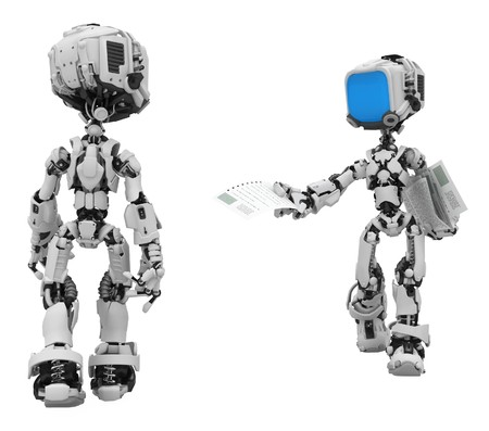 distributing: Small 3d robotic figures, over white, isolated