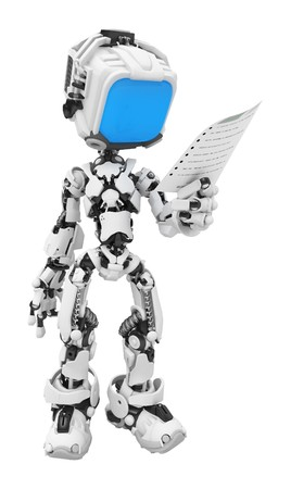 Small 3d robotic figures, over white, isolated photo