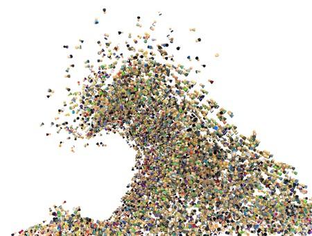 grote groep mensen: Grote menigte van kleine symbolische 3d figuren, in wit, geïsoleerd  Stockfoto