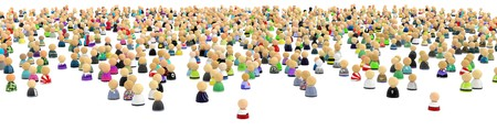 Big crowd of small symbolic 3d figures, over white, isolated 写真素材