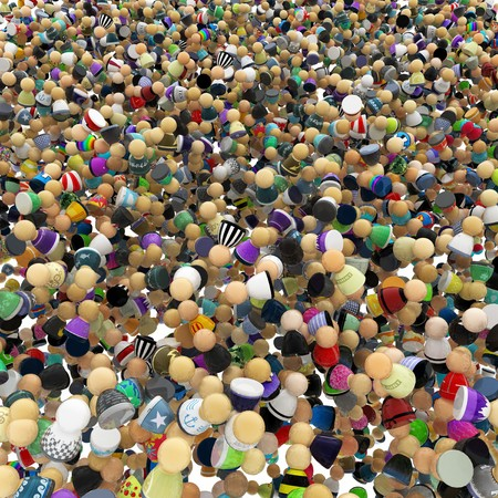 small group: Big crowd of small symbolic 3d figures Stock Photo