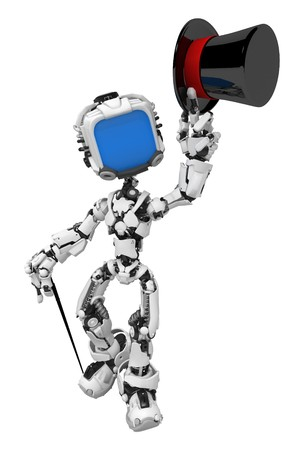 Small 3d robotic figure, over white, isolated Stock Photo - 7475080