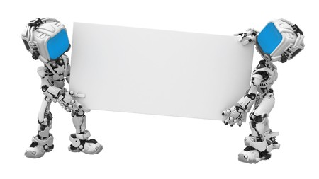 space robot: Small 3d robotic figures, over white, isolated