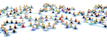 linked: Crowd of small symbolic 3d figures linked by lines