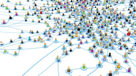 complex system: Crowd of small symbolic 3d figures linked by lines