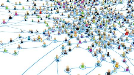 Folla di piccole figure 3d simbolici collegati da linee