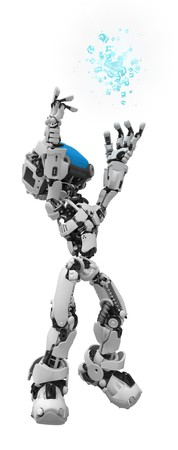 artificial light: Small 3d robotic figure, over white, isolated Stock Photo