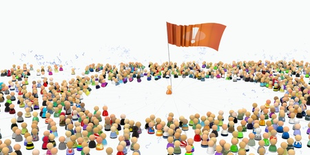 outrageous: Crowd of small symbolic 3d figures, over white, isolated