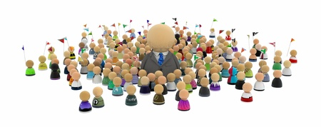 Crowd of small symbolic 3d figures, over white, isolated photo