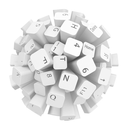 programming: Sphere made of computer keyboard keys, over white, isolated Stock Photo