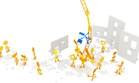 odd job: Small flat symbolic 3d figures, over white, isolated Stock Photo