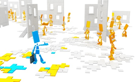participant: Small flat symbolic 3d figures, over white, isolated Stock Photo