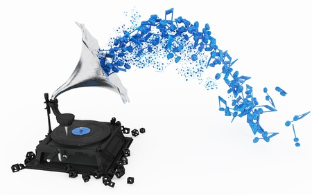 gramophone: Music flowing from gramophone, symbolic 3d, horizontal, over white, isolated Stock Photo