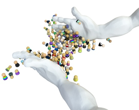 Crowd of small symbolic 3d figures, over white, isolated Stock Photo - 10267566