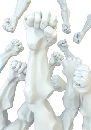 anger abstract: Statue fist abstract 3d, isolated, over white Stock Photo