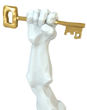 grasp: Statue fist with a golden key, 3d, isolated, over white